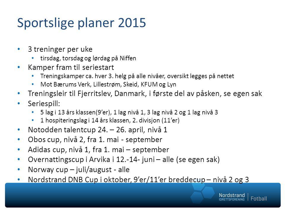 Sportslige planer 2015 3 treninger per uke tirsdag, torsdag og lørdag på Niffen Kamper fram til seriestart Treningskamper ca. hver 3. helg på alle niv