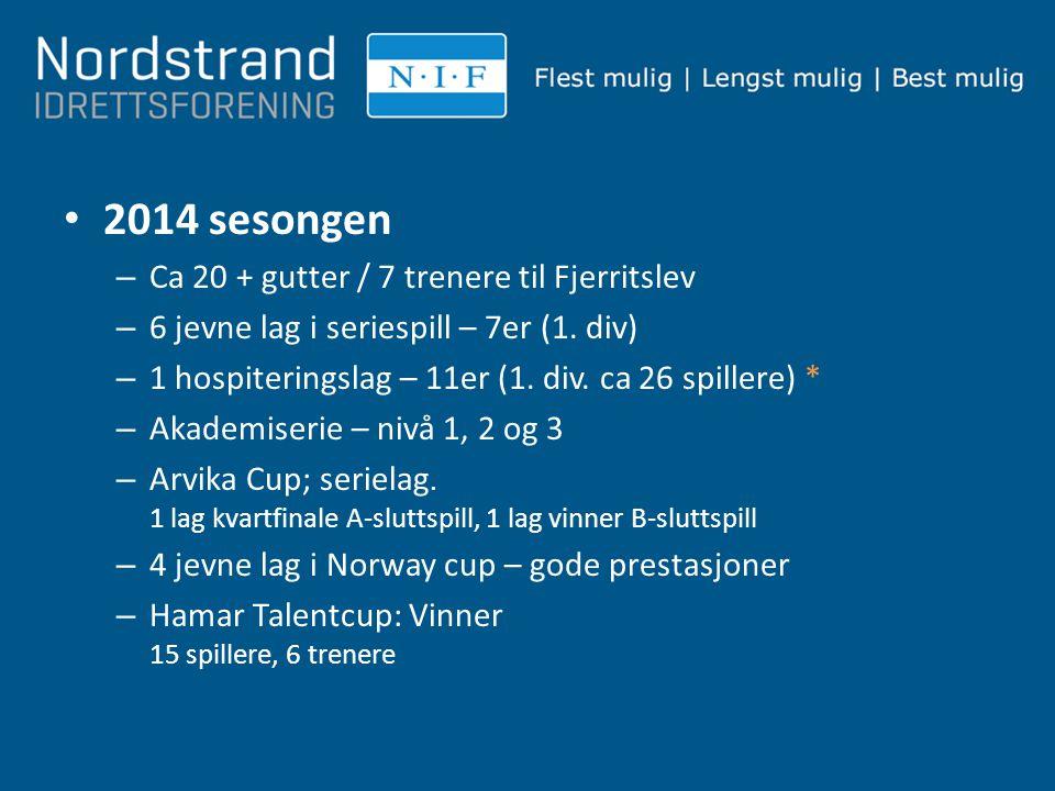 2014 sesongen – Ca 20 + gutter / 7 trenere til Fjerritslev – 6 jevne lag i seriespill – 7er (1. div) – 1 hospiteringslag – 11er (1. div. ca 26 spiller