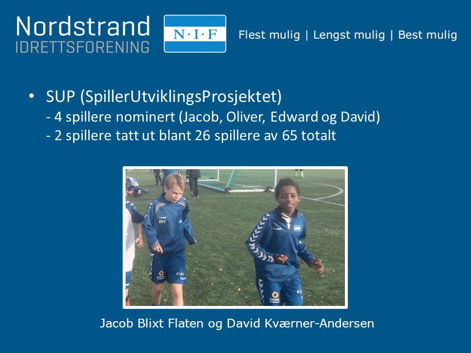 SUP (SpillerUtviklingsProsjektet) - 4 spillere nominert (Jacob, Oliver, Edward og David) - 2 spillere tatt ut blant 26 spillere av 65 totalt Jacob Bli