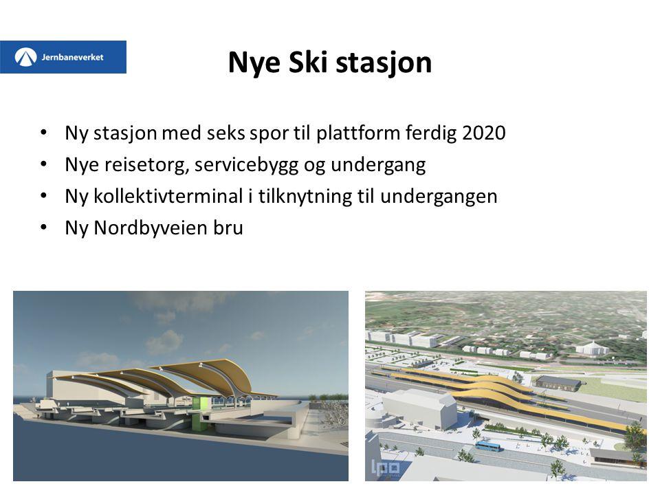 Nye Ski stasjon Ny stasjon med seks spor til plattform ferdig 2020 Nye reisetorg, servicebygg og undergang Ny kollektivterminal i tilknytning til unde