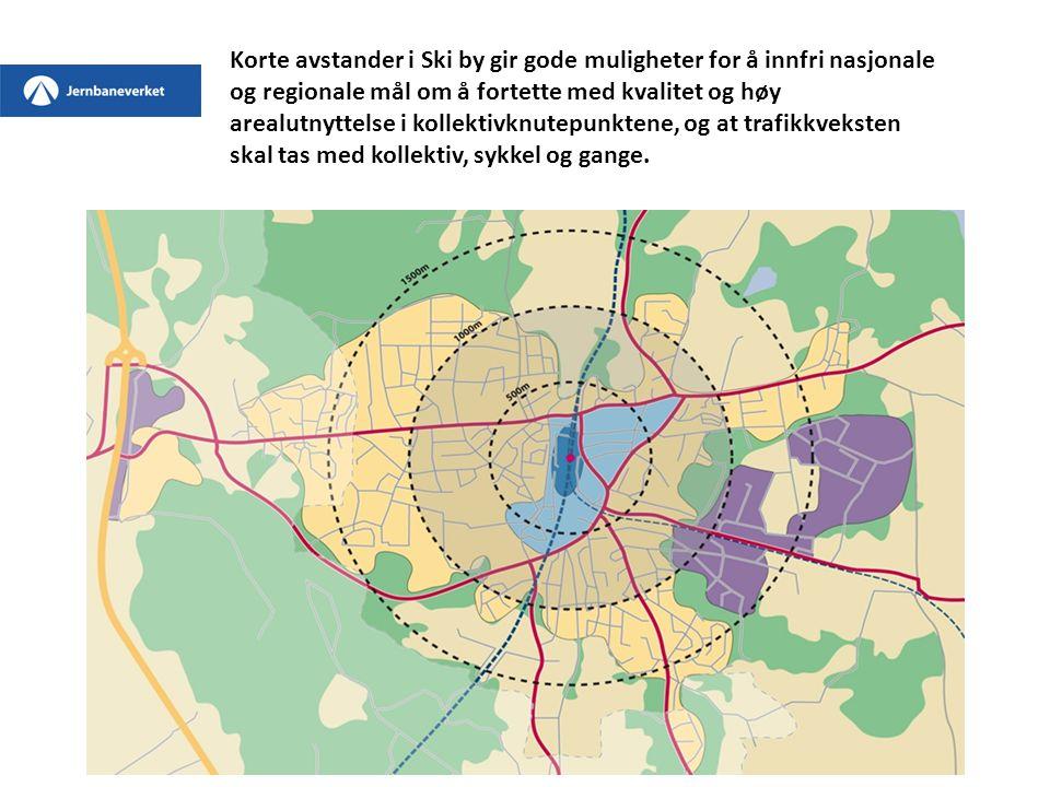 Korte avstander i Ski by gir gode muligheter for å innfri nasjonale og regionale mål om å fortette med kvalitet og høy arealutnyttelse i kollektivknut