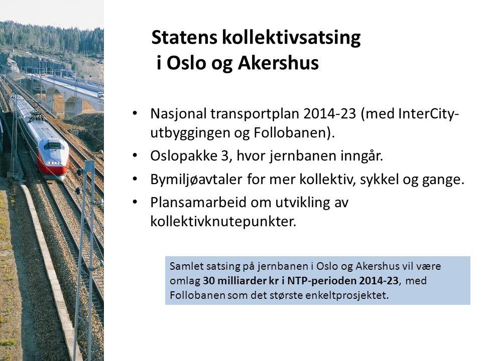 Statens kollektivsatsing i Oslo og Akershus Nasjonal transportplan 2014-23 (med InterCity- utbyggingen og Follobanen). Oslopakke 3, hvor jernbanen inn