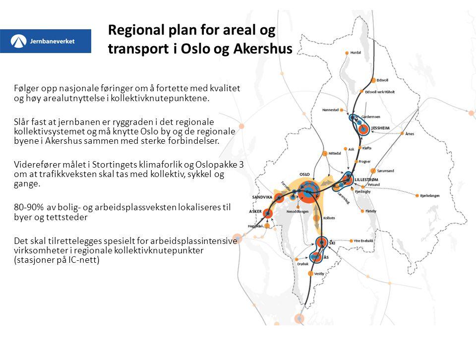 Regional plan for areal og transport i Oslo og Akershus Følger opp nasjonale føringer om å fortette med kvalitet og høy arealutnyttelse i kollektivknu