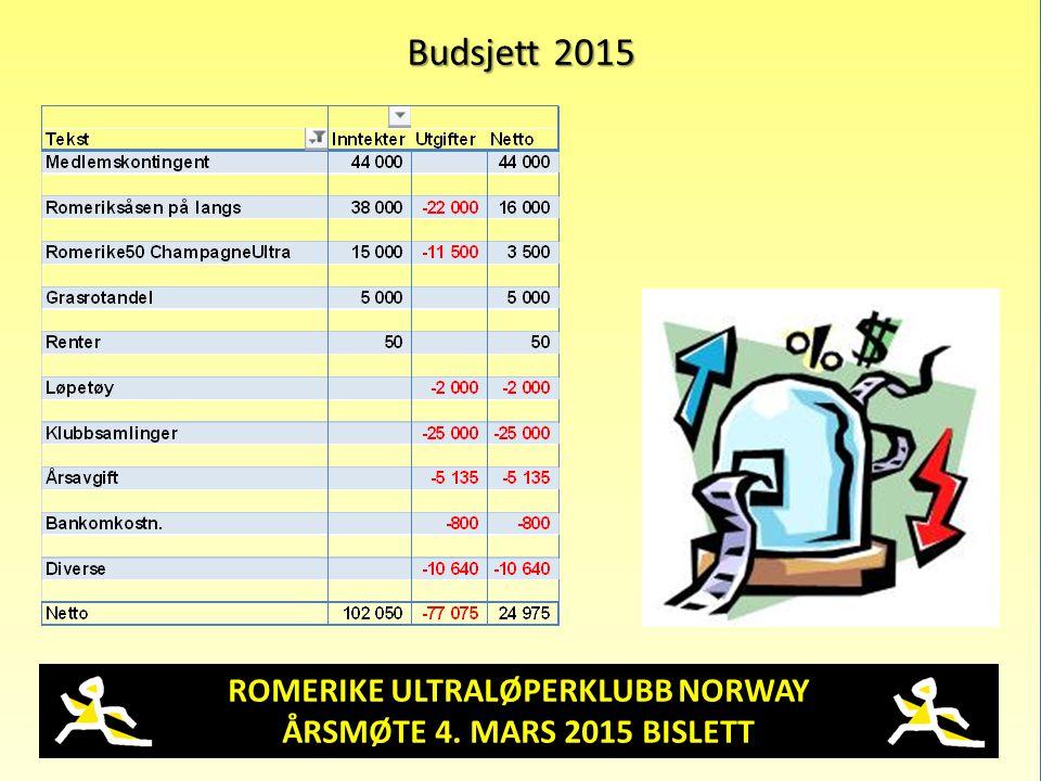 ROMERIKE ULTRALØPERKLUBB NORWAY ÅRSMØTE 4. MARS 2015 BISLETT Budsjett 2015