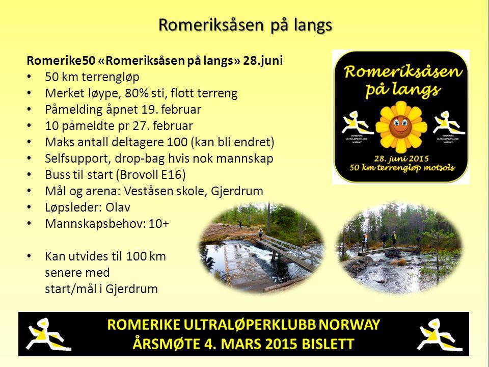 ROMERIKE ULTRALØPERKLUBB NORWAY ÅRSMØTE 4. MARS 2015 BISLETT Romeriksåsen på langs Romerike50 «Romeriksåsen på langs» 28.juni 50 km terrengløp Merket