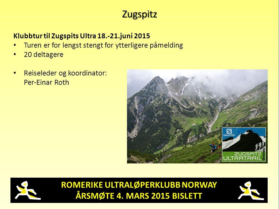 ROMERIKE ULTRALØPERKLUBB NORWAY ÅRSMØTE 4. MARS 2015 BISLETT Zugspitz Klubbtur til Zugspits Ultra 18.-21.juni 2015 Turen er for lengst stengt for ytte