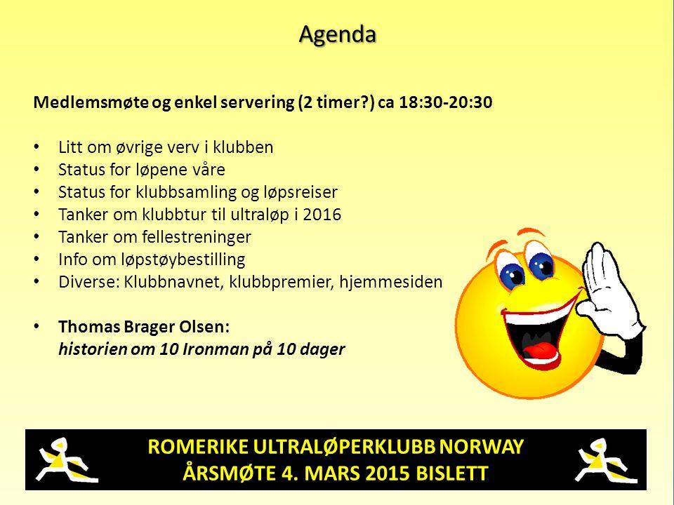 ROMERIKE ULTRALØPERKLUBB NORWAY ÅRSMØTE 4. MARS 2015 BISLETT Agenda Medlemsmøte og enkel servering (2 timer?) ca 18:30-20:30 Litt om øvrige verv i klu