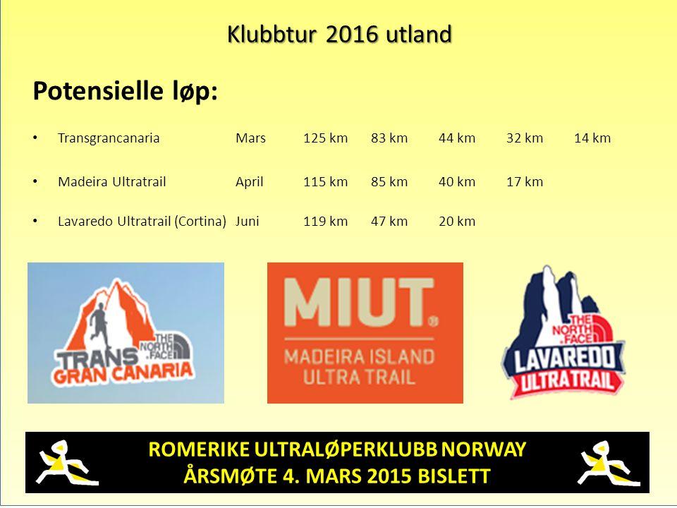 ROMERIKE ULTRALØPERKLUBB NORWAY ÅRSMØTE 4. MARS 2015 BISLETT Klubbtur 2016 utland Potensielle løp: TransgrancanariaMars125 km83 km44 km32 km14 km Made