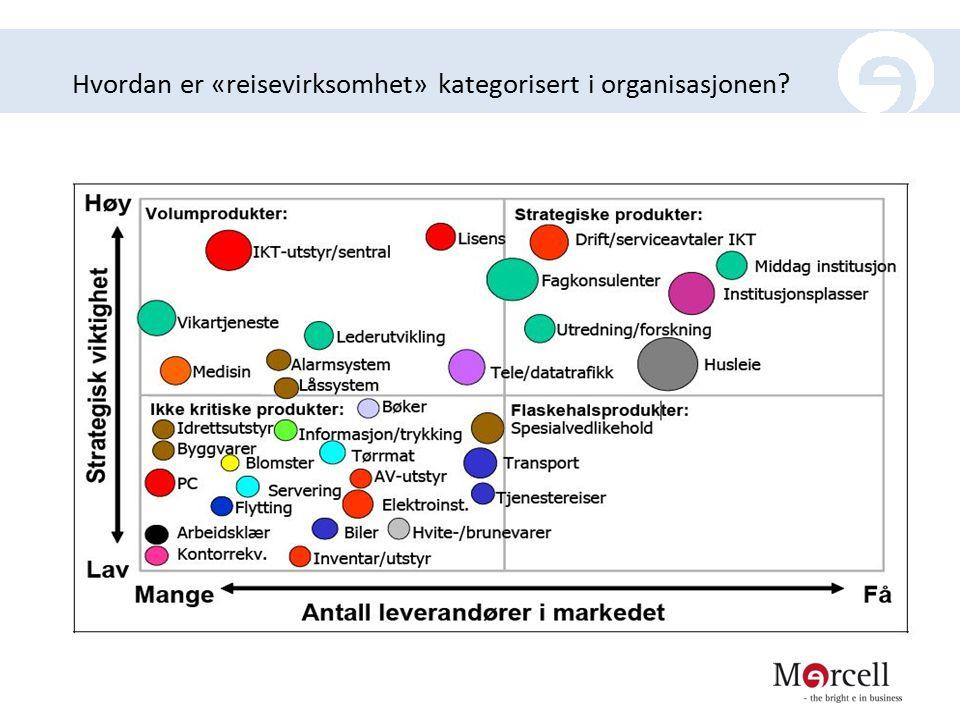 Hvordan er «reisevirksomhet» kategorisert i organisasjonen?