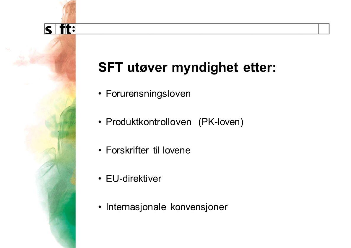 SFT utøver myndighet etter: Forurensningsloven Produktkontrolloven (PK-loven) Forskrifter til lovene EU-direktiver Internasjonale konvensjoner