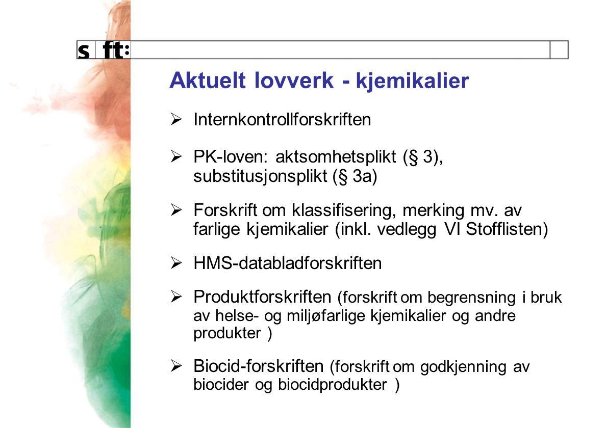 Aktuelt lovverk - kjemikalier  Internkontrollforskriften  PK-loven: aktsomhetsplikt (§ 3), substitusjonsplikt (§ 3a)  Forskrift om klassifisering, merking mv.