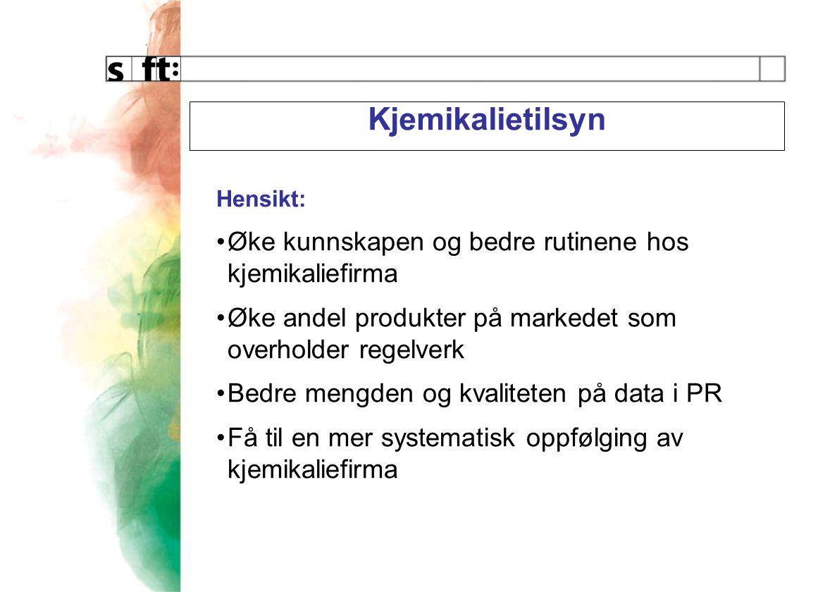 Bidra til at kjemikalier på det norske markedet er i samsvar med regelverket Kontroll av at produktene: Ikke inneholder forbudte stoffer Er klassifisert, merket og emballert riktig Er deklarert til PR (hvis deklarasjonspliktig) Har oppdaterte HMS-datablader og at Firmaene har rutiner (internkontroll) som sikrer dette