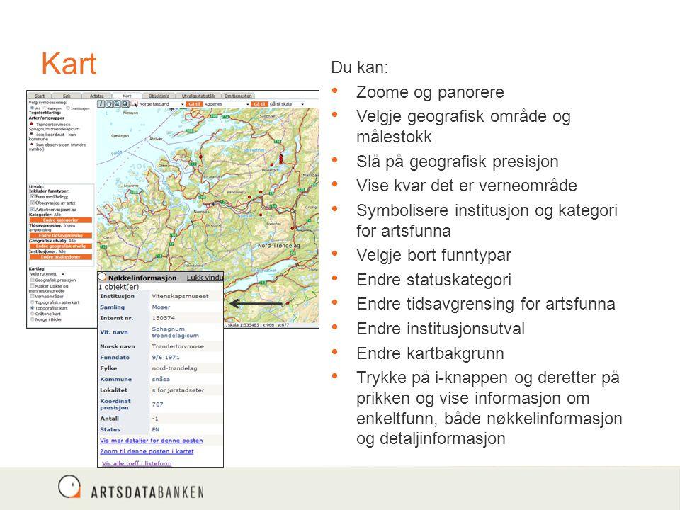 Kart Du kan: Zoome og panorere Velgje geografisk område og målestokk Slå på geografisk presisjon Vise kvar det er verneområde Symbolisere institusjon