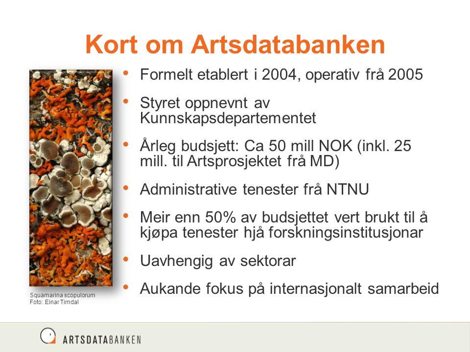 Kort om Artsdatabanken Formelt etablert i 2004, operativ frå 2005 Styret oppnevnt av Kunnskapsdepartementet Årleg budsjett: Ca 50 mill NOK (inkl.