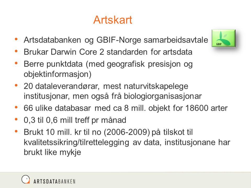 Artskart Artsdatabanken og GBIF-Norge samarbeidsavtale Brukar Darwin Core 2 standarden for artsdata Berre punktdata (med geografisk presisjon og objek