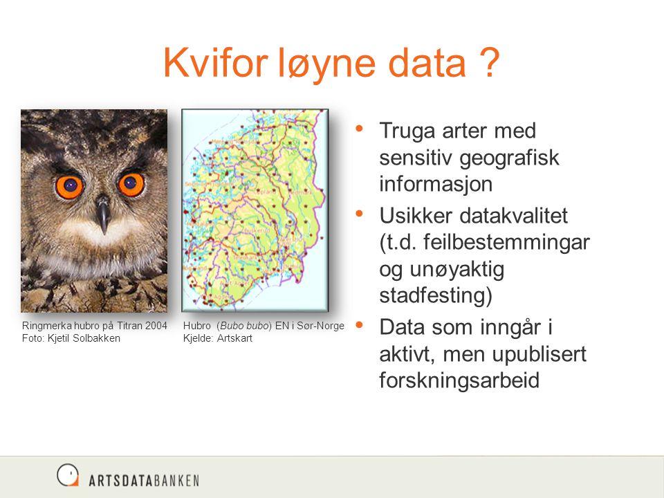 Kvifor løyne data ? Truga arter med sensitiv geografisk informasjon Usikker datakvalitet (t.d. feilbestemmingar og unøyaktig stadfesting) Data som inn