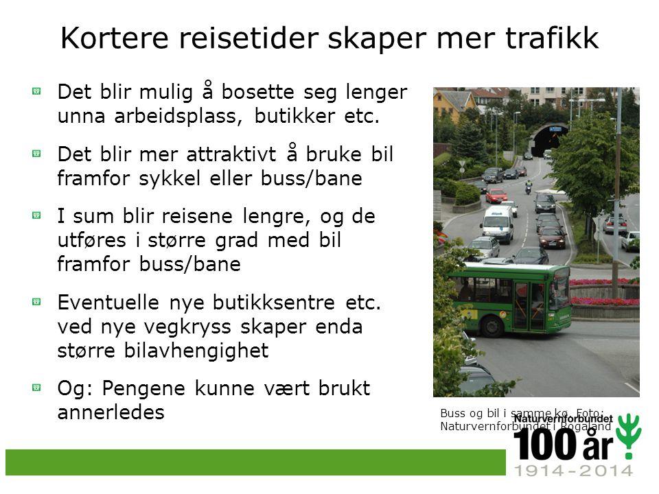 Kortere reisetider skaper mer trafikk Det blir mulig å bosette seg lenger unna arbeidsplass, butikker etc.