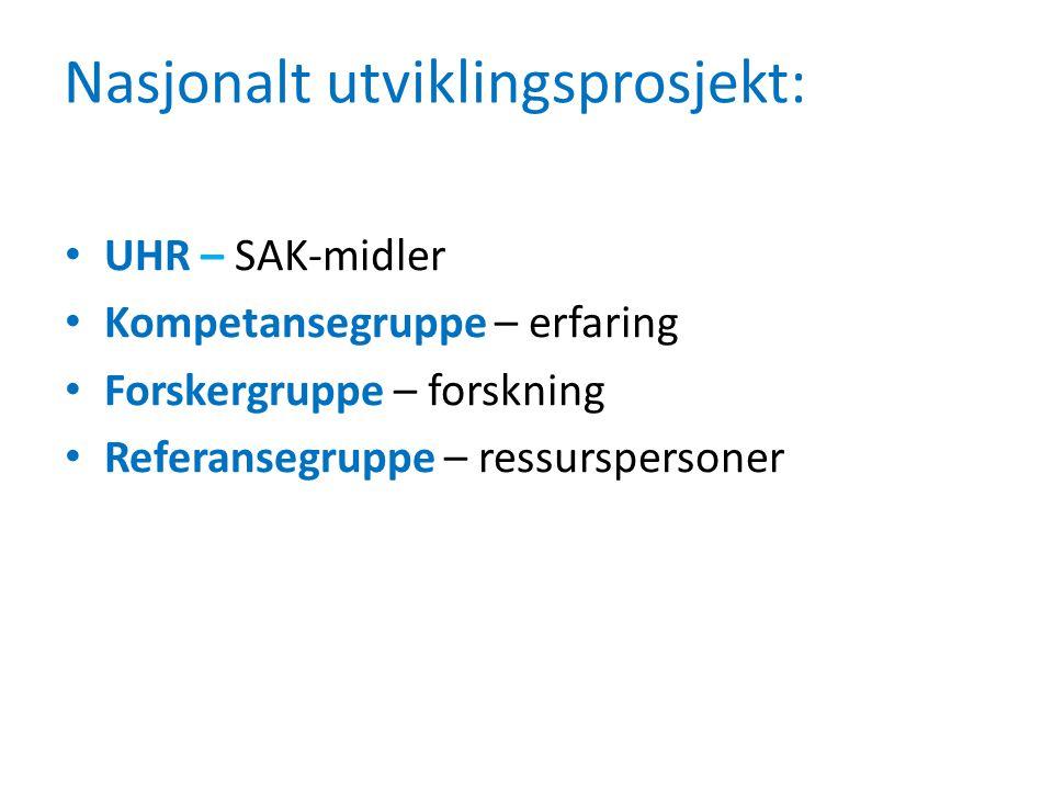 Nasjonalt utviklingsprosjekt: UHR – SAK-midler Kompetansegruppe – erfaring Forskergruppe – forskning Referansegruppe – ressurspersoner