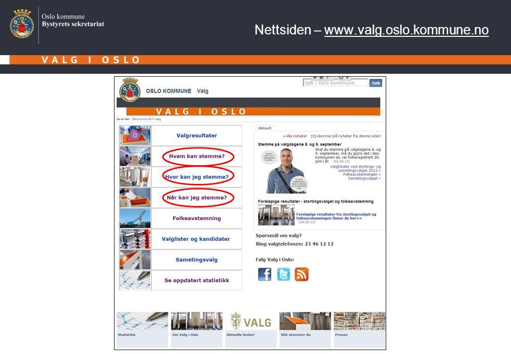 Nettsiden – www.valg.oslo.kommune.no