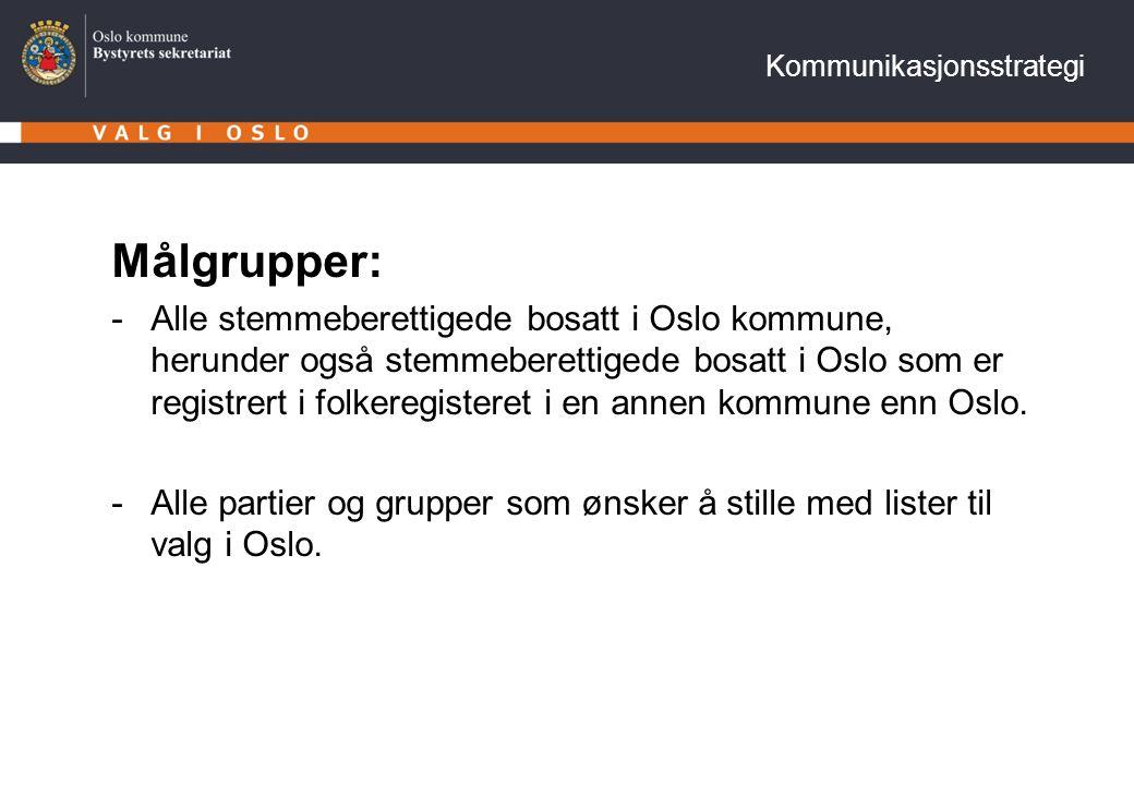 Målgrupper: -Alle stemmeberettigede bosatt i Oslo kommune, herunder også stemmeberettigede bosatt i Oslo som er registrert i folkeregisteret i en anne