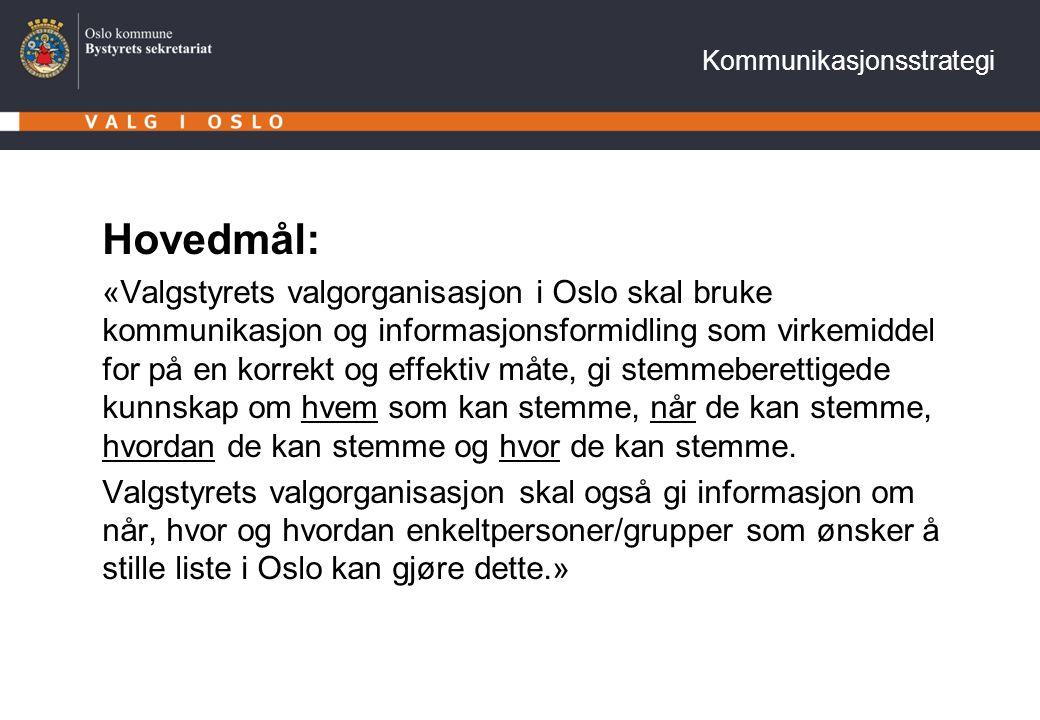 Kommunikasjonsstrategi Hovedmål: «Valgstyrets valgorganisasjon i Oslo skal bruke kommunikasjon og informasjonsformidling som virkemiddel for på en korrekt og effektiv måte, gi stemmeberettigede kunnskap om hvem som kan stemme, når de kan stemme, hvordan de kan stemme og hvor de kan stemme.