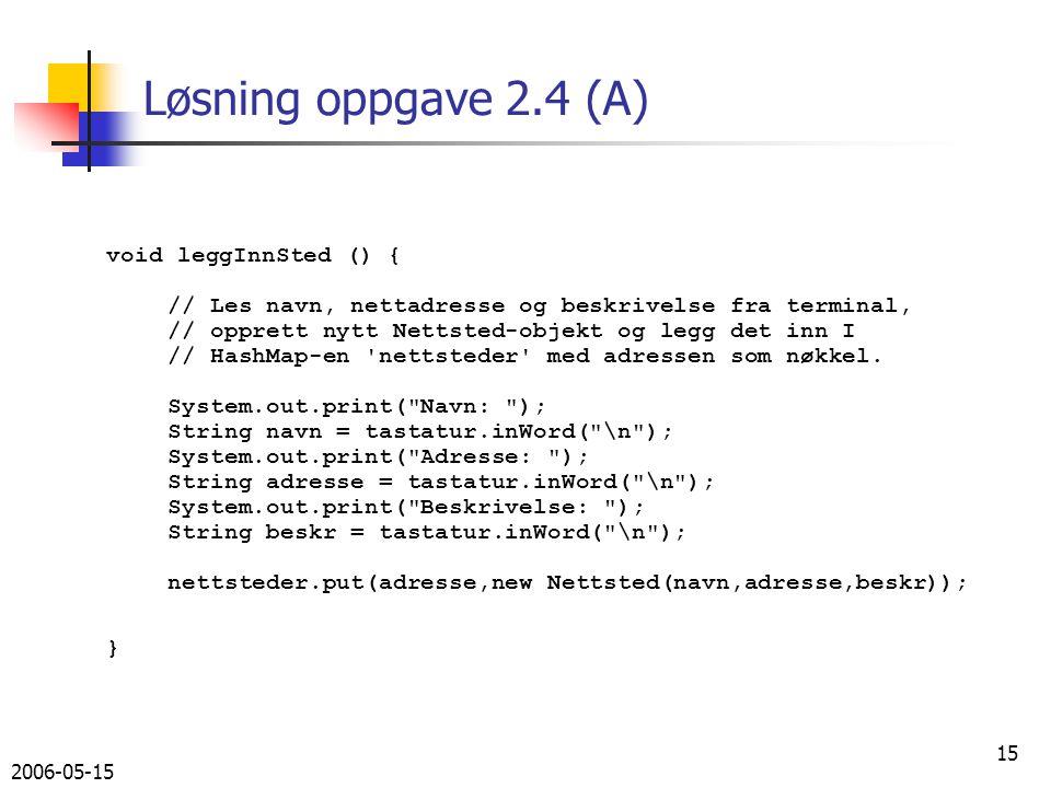 2006-05-15 15 Løsning oppgave 2.4 (A) void leggInnSted () { // Les navn, nettadresse og beskrivelse fra terminal, // opprett nytt Nettsted-objekt og legg det inn I // HashMap-en nettsteder med adressen som nøkkel.