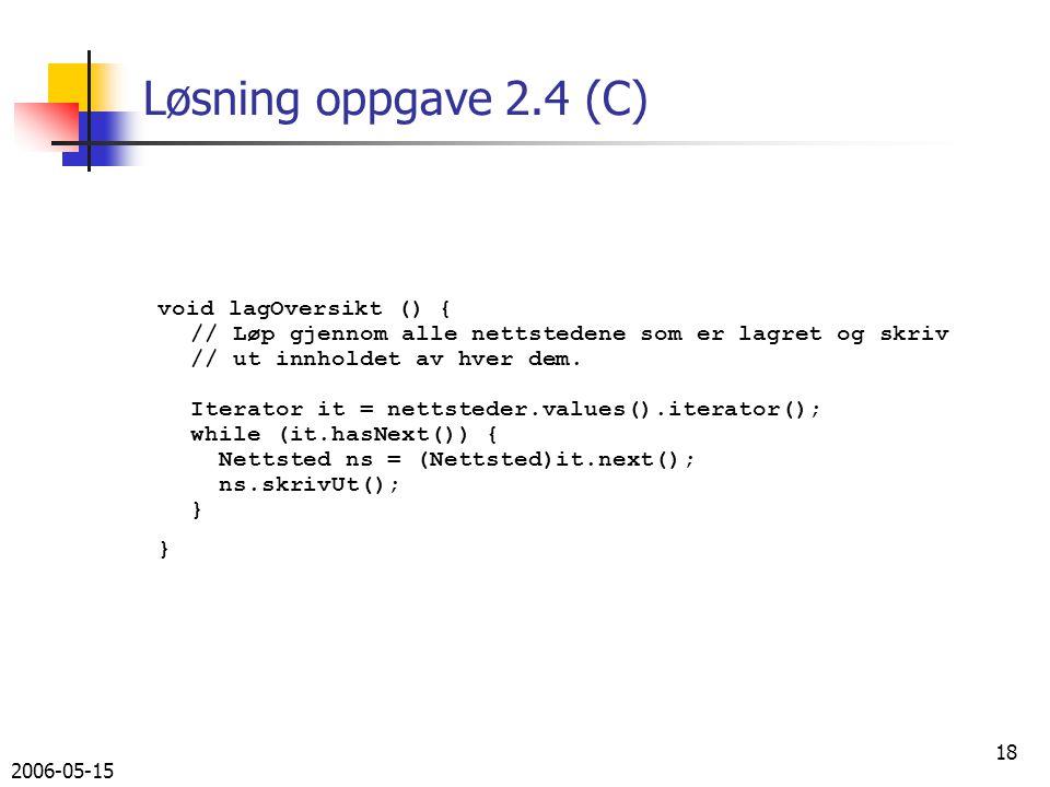 2006-05-15 18 Løsning oppgave 2.4 (C) void lagOversikt () { // Løp gjennom alle nettstedene som er lagret og skriv // ut innholdet av hver dem.