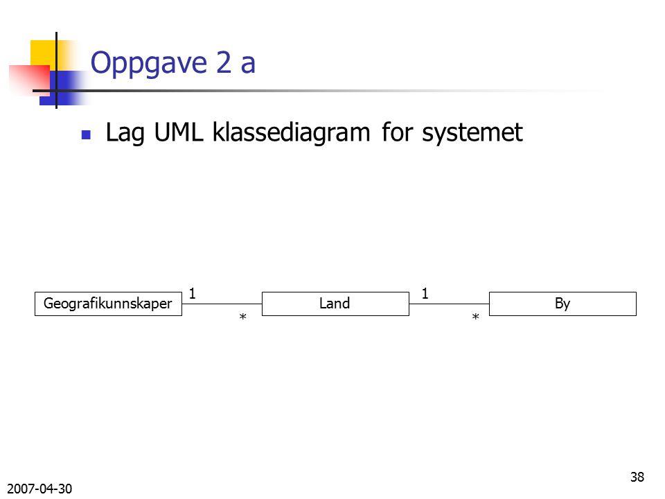 2007-04-30 38 Oppgave 2 a Lag UML klassediagram for systemet GeografikunnskaperLandBy 11 **