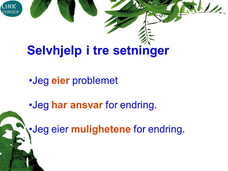 Selvhjelp i tre setninger Jeg eier problemet Jeg har ansvar for endring.