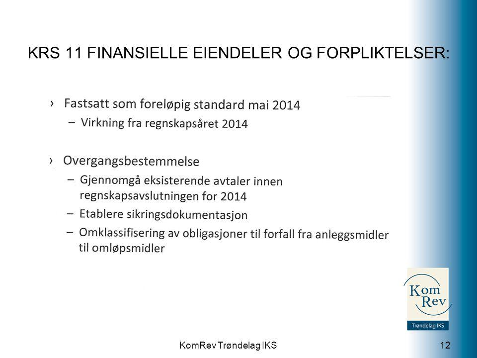 KomRev Trøndelag IKS KRS 11 FINANSIELLE EIENDELER OG FORPLIKTELSER: 12