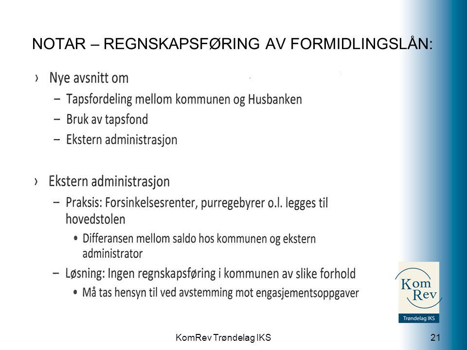 KomRev Trøndelag IKS NOTAR – REGNSKAPSFØRING AV FORMIDLINGSLÅN: 21
