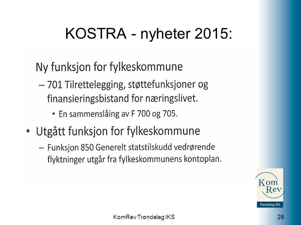 KomRev Trøndelag IKS KOSTRA - nyheter 2015: 26