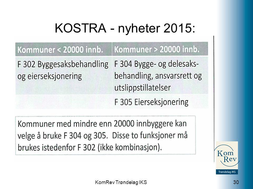 KomRev Trøndelag IKS KOSTRA - nyheter 2015: 30
