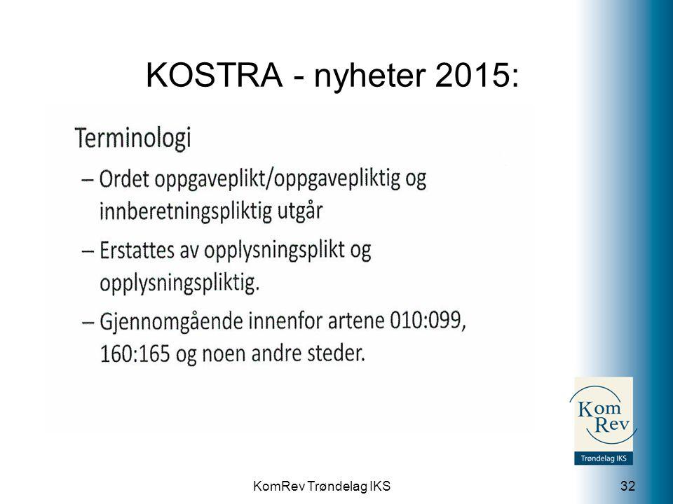 KomRev Trøndelag IKS KOSTRA - nyheter 2015: 32