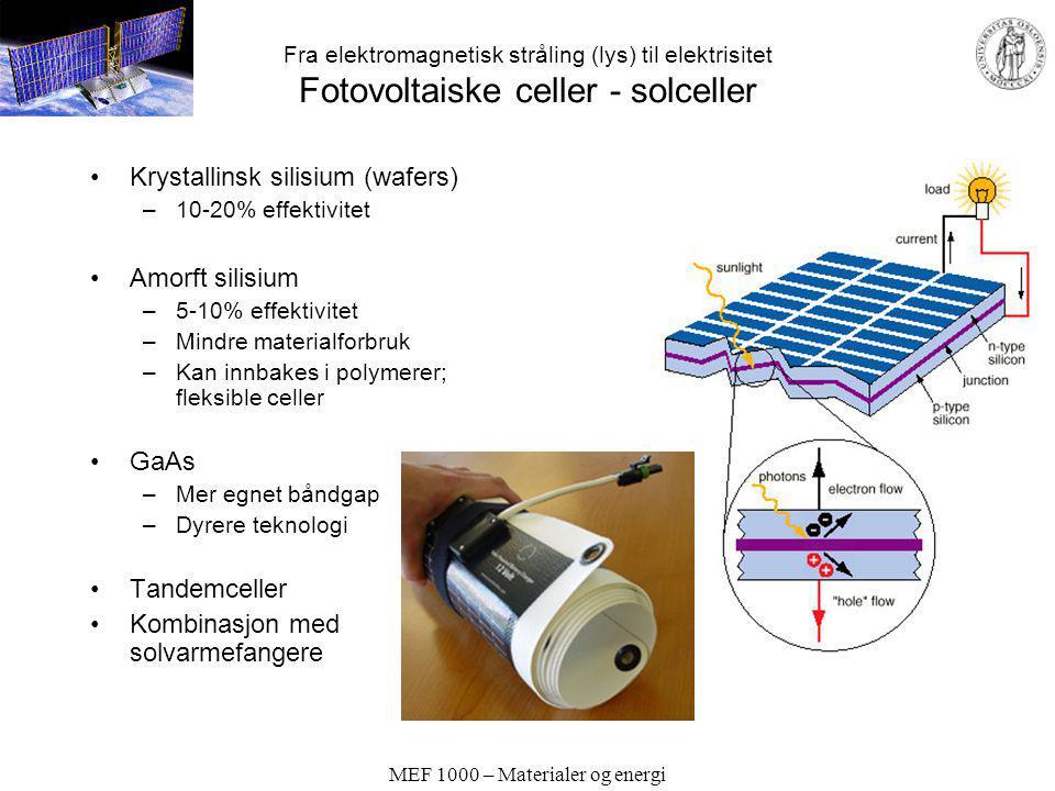 MEF 1000 – Materialer og energi Fra elektromagnetisk stråling (lys) til elektrisitet Fotovoltaiske celler - solceller Krystallinsk silisium (wafers) –