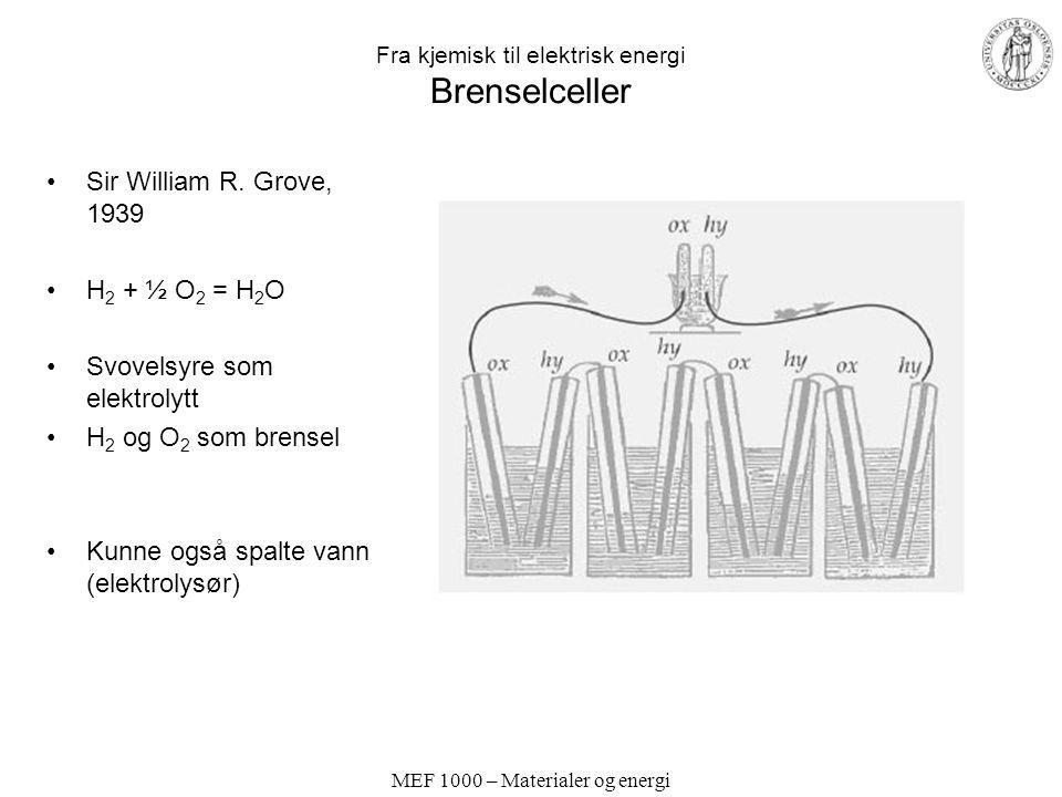 MEF 1000 – Materialer og energi Fra kjemisk til elektrisk energi Brenselceller Sir William R. Grove, 1939 H 2 + ½ O 2 = H 2 O Svovelsyre som elektroly