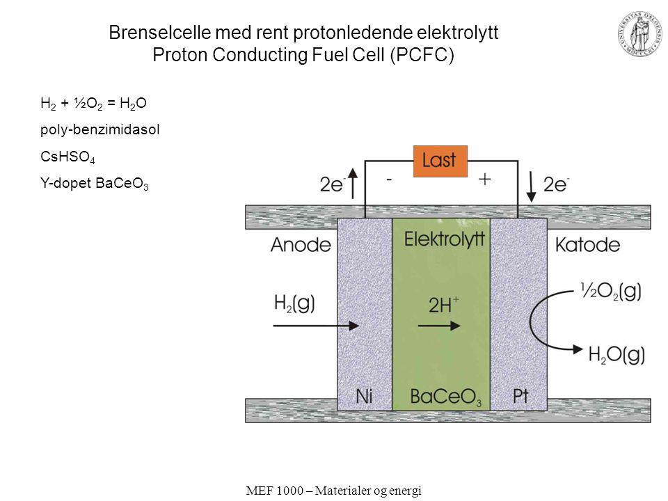 MEF 1000 – Materialer og energi Brenselcelle med rent protonledende elektrolytt Proton Conducting Fuel Cell (PCFC) H 2 + ½O 2 = H 2 O poly-benzimidaso