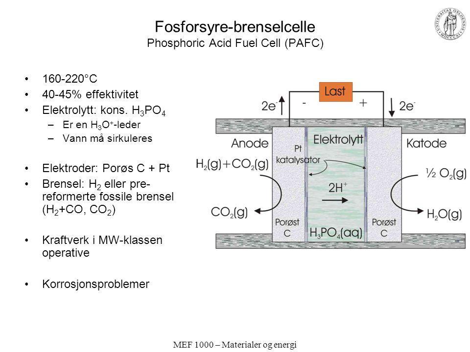 MEF 1000 – Materialer og energi Fosforsyre-brenselcelle Phosphoric Acid Fuel Cell (PAFC) 160-220°C 40-45% effektivitet Elektrolytt: kons. H 3 PO 4 –Er