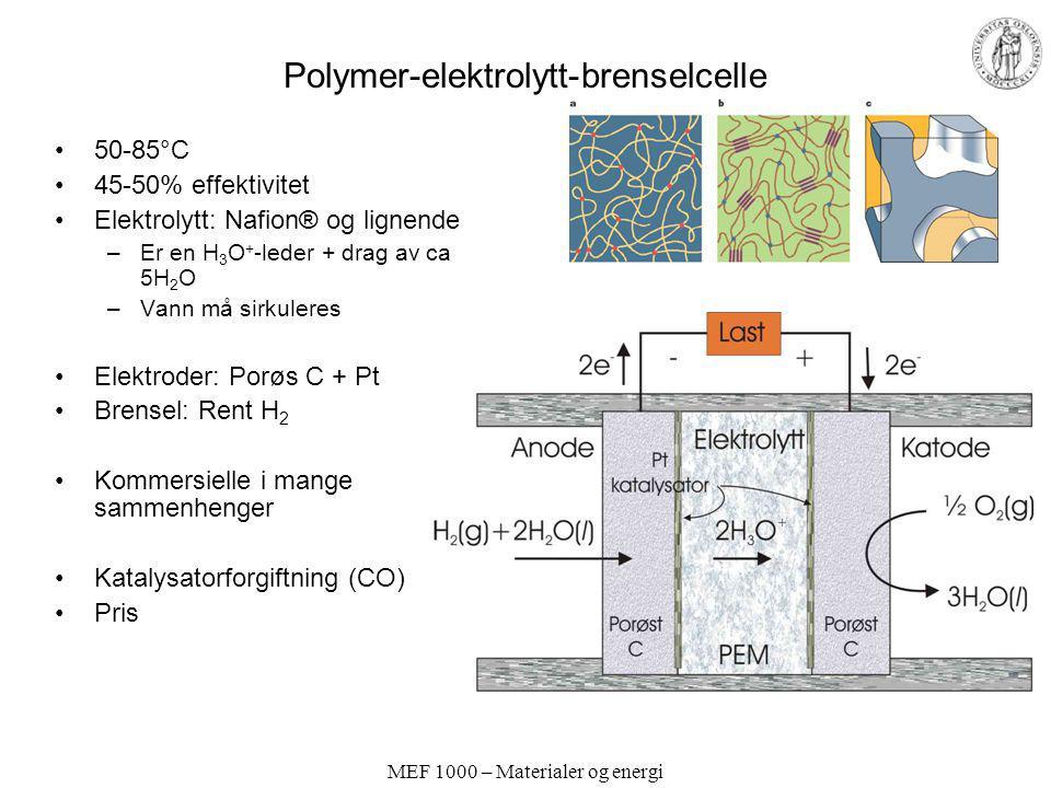 MEF 1000 – Materialer og energi Polymer-elektrolytt-brenselcelle 50-85°C 45-50% effektivitet Elektrolytt: Nafion® og lignende –Er en H 3 O + -leder +