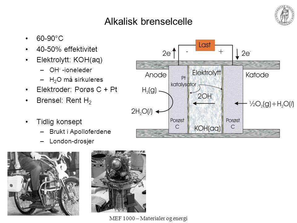 MEF 1000 – Materialer og energi Alkalisk brenselcelle 60-90°C 40-50% effektivitet Elektrolytt: KOH(aq) –OH - -ioneleder –H 2 O må sirkuleres Elektrode