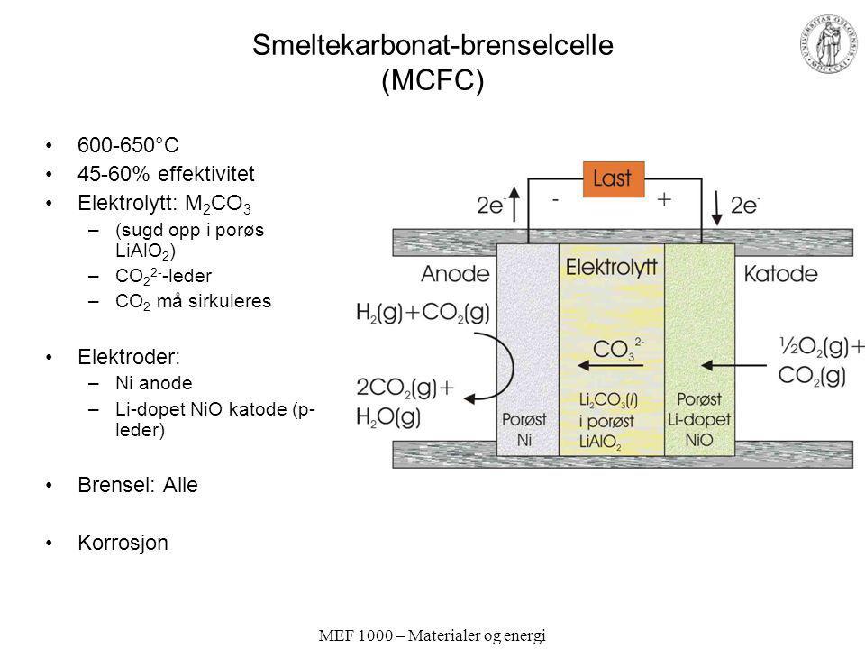 MEF 1000 – Materialer og energi Smeltekarbonat-brenselcelle (MCFC) 600-650°C 45-60% effektivitet Elektrolytt: M 2 CO 3 –(sugd opp i porøs LiAlO 2 ) –C