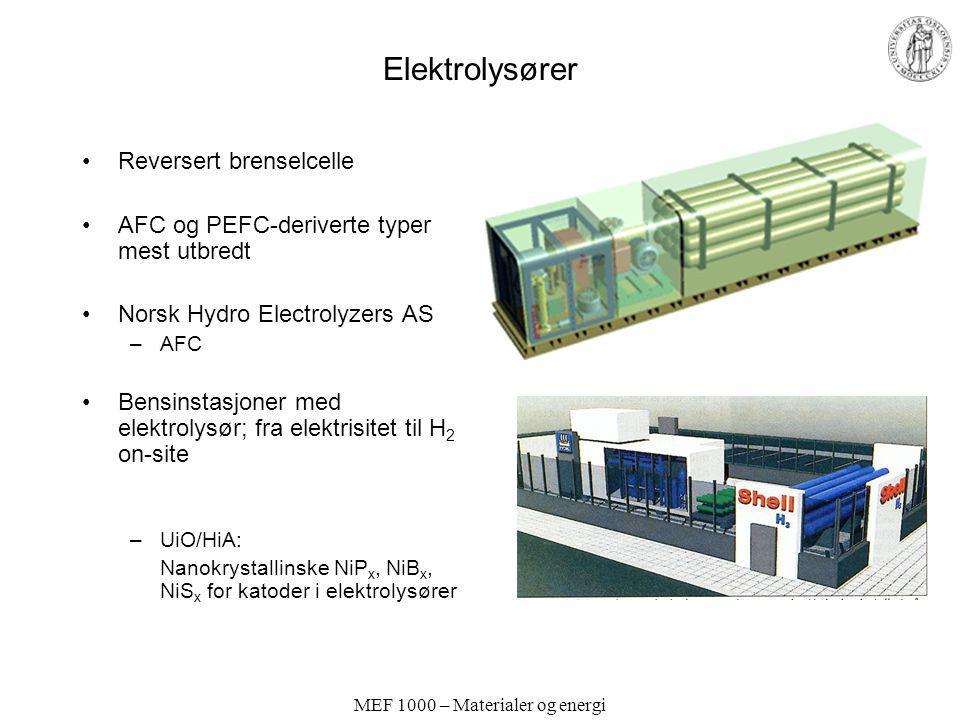 MEF 1000 – Materialer og energi Elektrolysører Reversert brenselcelle AFC og PEFC-deriverte typer mest utbredt Norsk Hydro Electrolyzers AS –AFC Bensi
