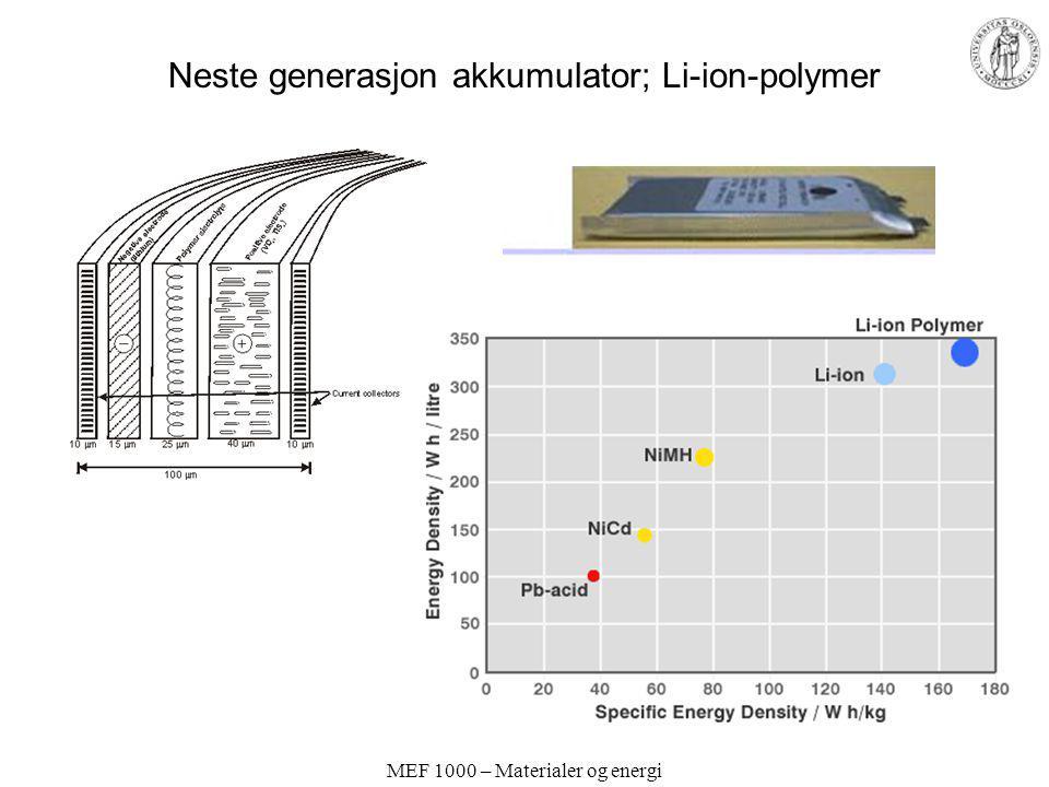 MEF 1000 – Materialer og energi Neste generasjon akkumulator; Li-ion-polymer