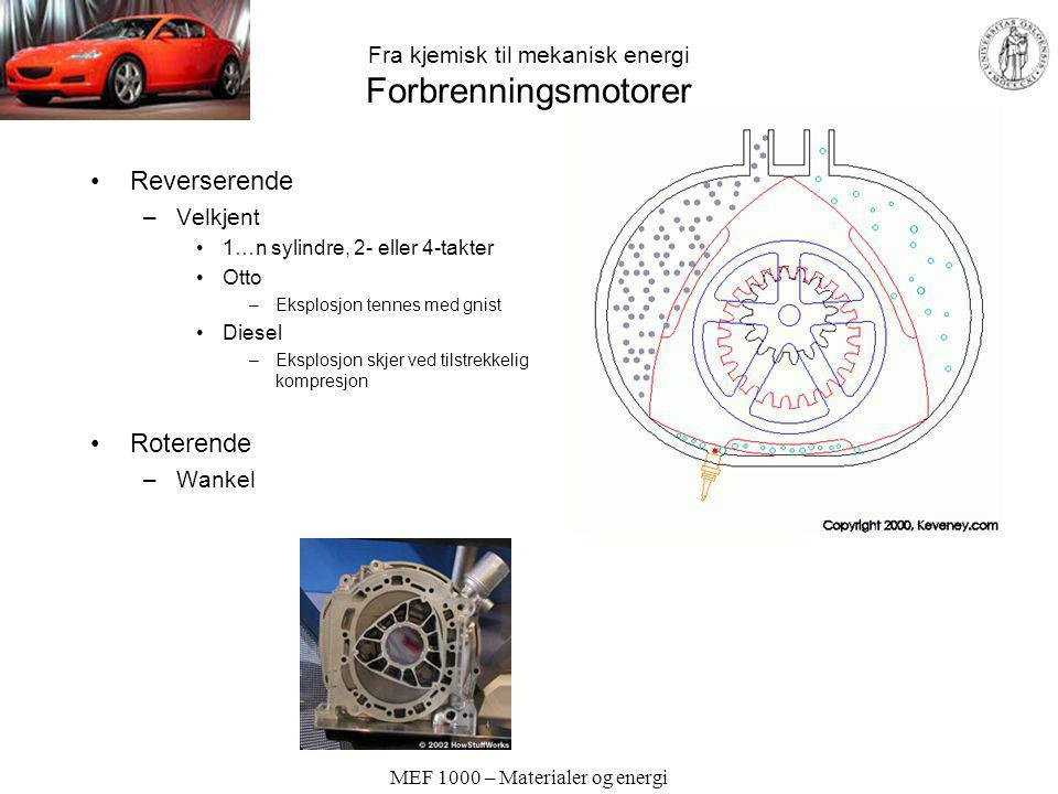 MEF 1000 – Materialer og energi Fra kjemisk til mekanisk energi Forbrenningsmotorer Reverserende –Velkjent 1…n sylindre, 2- eller 4-takter Otto –Ekspl