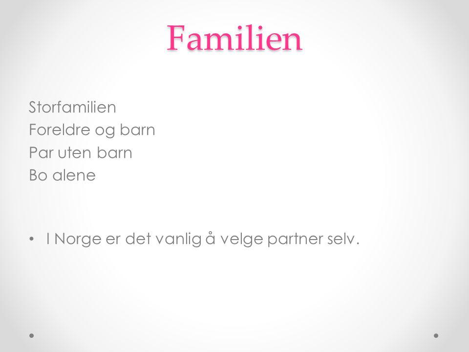 Familien Storfamilien Foreldre og barn Par uten barn Bo alene I Norge er det vanlig å velge partner selv.