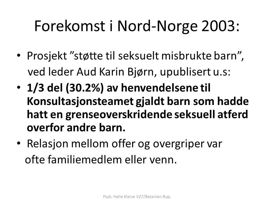 Forekomst i Nord-Norge 2003: Prosjekt støtte til seksuelt misbrukte barn , ved leder Aud Karin Bjørn, upublisert u.s: 1/3 del (30.2%) av henvendelsene til Konsultasjonsteamet gjaldt barn som hadde hatt en grenseoverskridende seksuell atferd overfor andre barn.