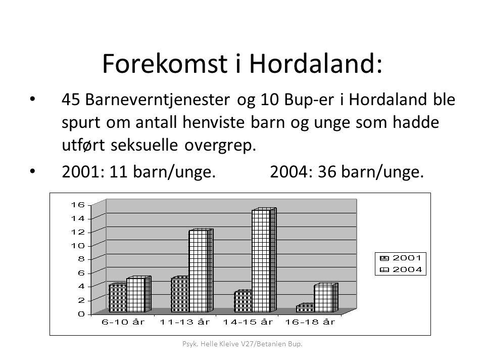 Forekomst i Hordaland: 45 Barneverntjenester og 10 Bup-er i Hordaland ble spurt om antall henviste barn og unge som hadde utført seksuelle overgrep.
