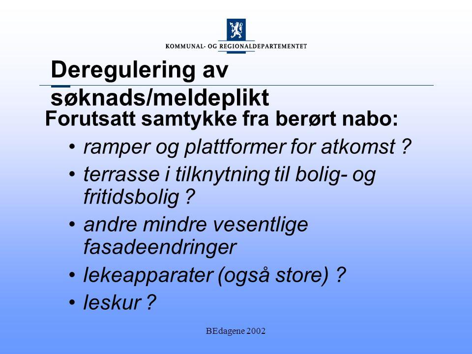 BEdagene 2002 Deregulering av søknads/meldeplikt Forutsatt samtykke fra berørt nabo: ramper og plattformer for atkomst .