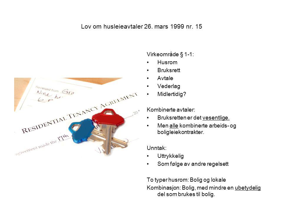 Lov om husleieavtaler 26.mars 1999 nr.