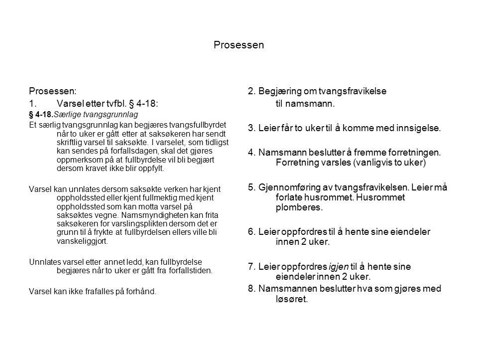 Prosessen Prosessen: 1.Varsel etter tvfbl.
